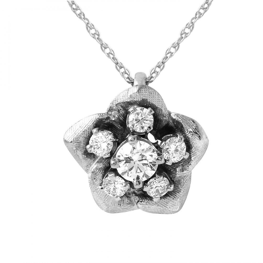 14KT White Gold Diamond Pendant & Chain