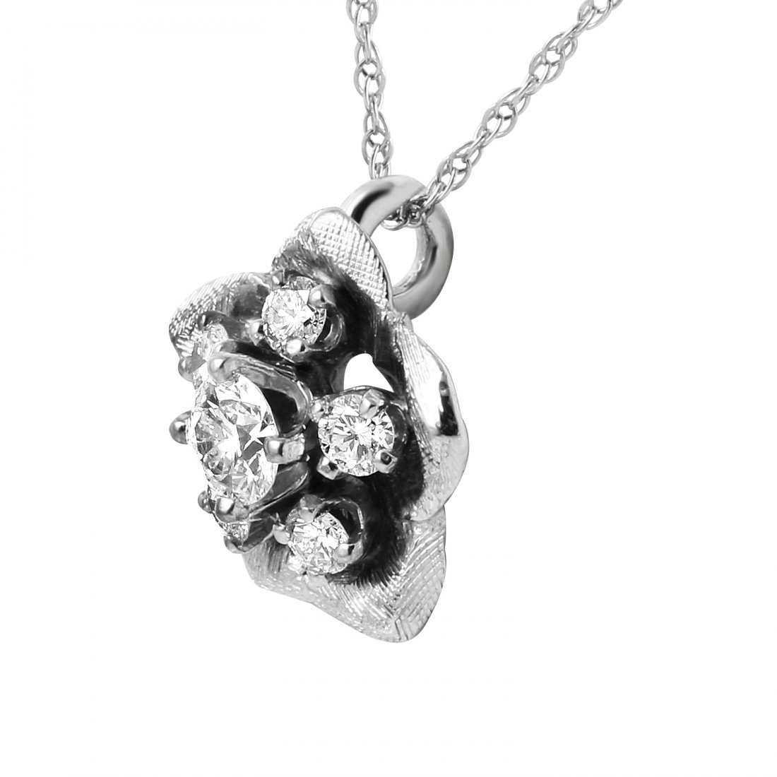 14KT White Gold Diamond Pendant & Chain - 2