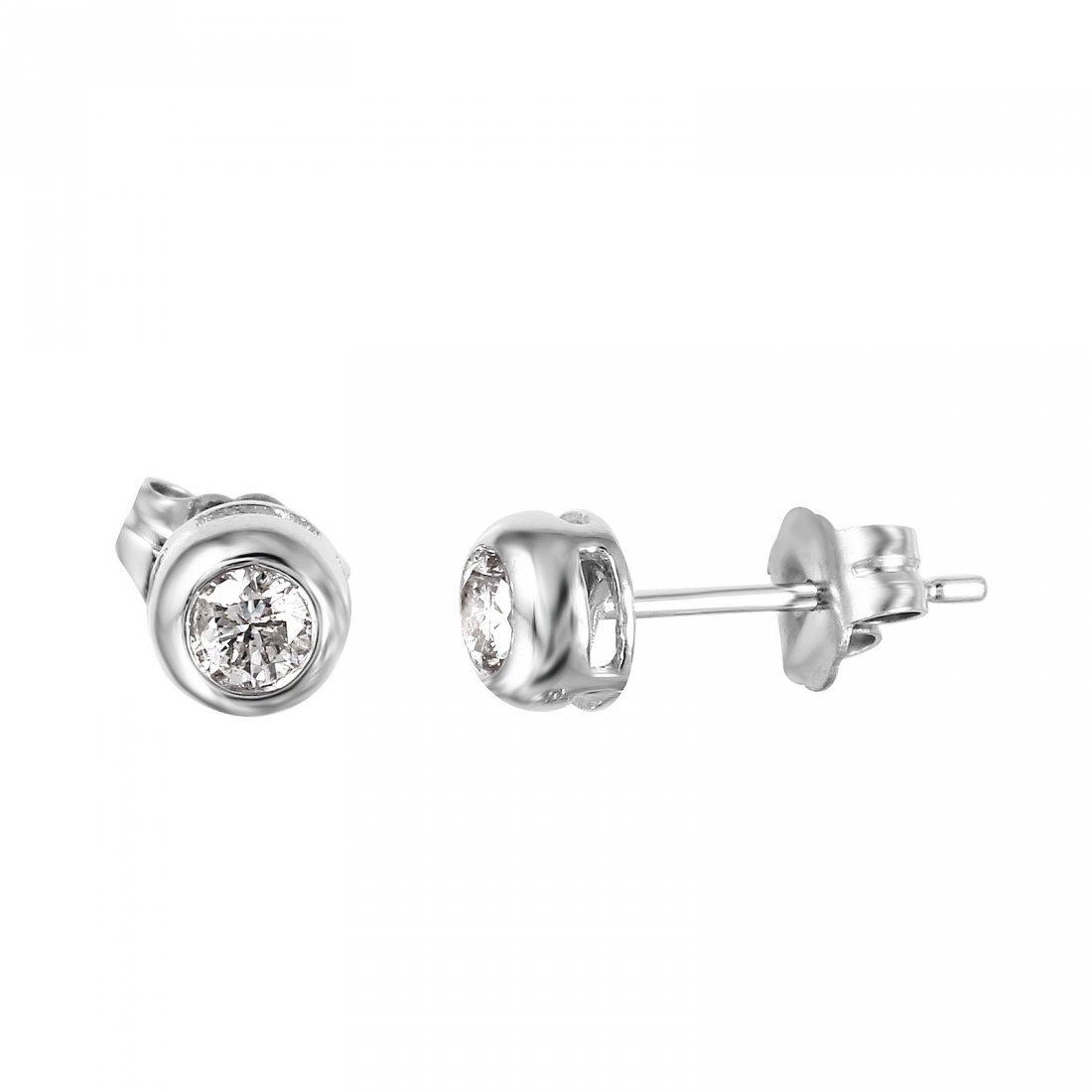 14KT White Gold Diamond Stud Earrings - 2