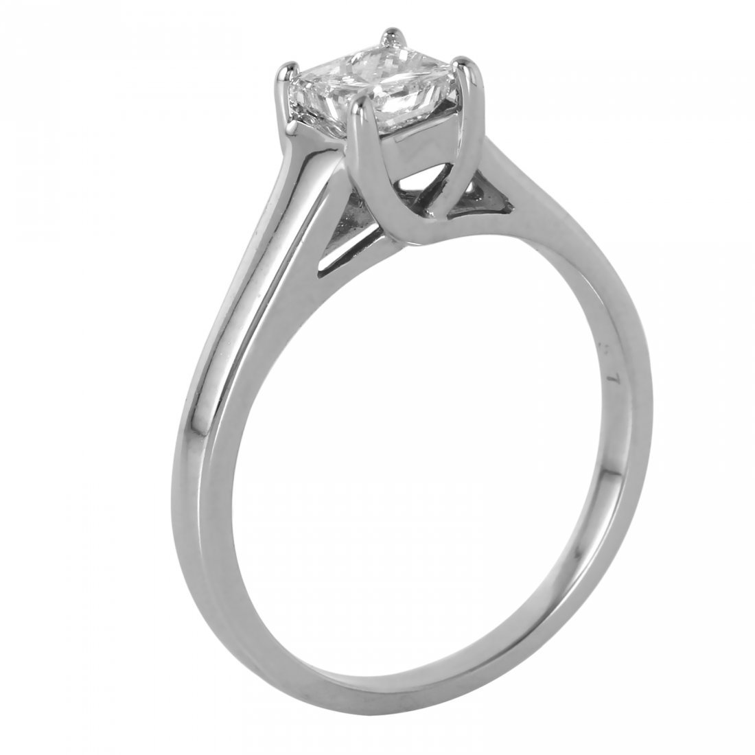 14KT White Gold Diamond Solitaire Ring - 2