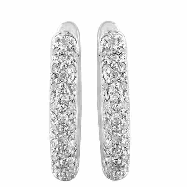 14KT White Gold Diamond Hoops