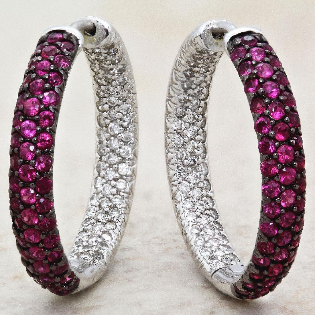 14KT White Gold Ruby & Diamond Earrings