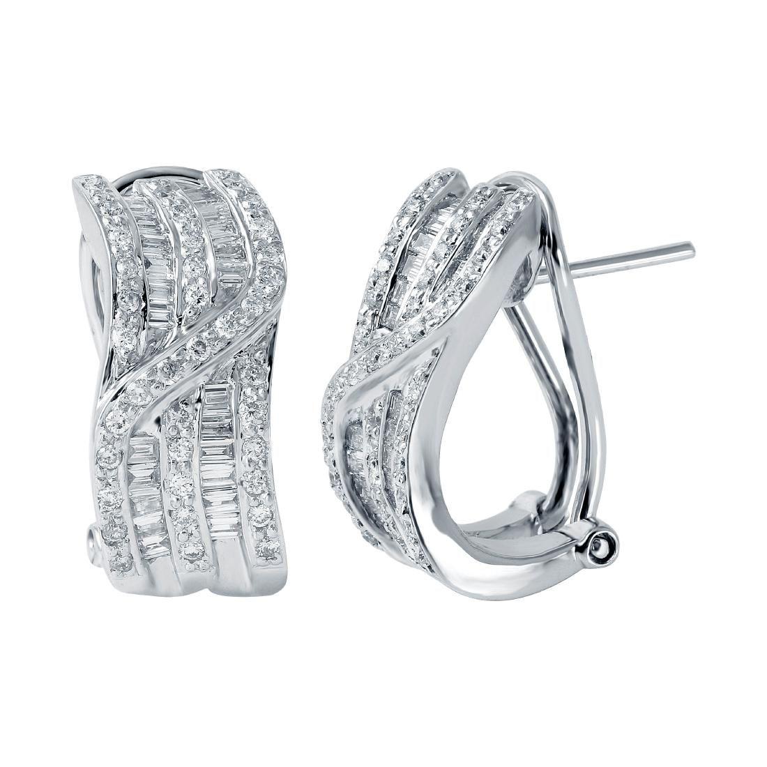 18KT White Gold Diamond Huggie Earrings