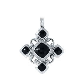 David Yurman Silver Black Onyx Diamond Pendant