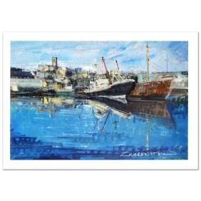 """""""Penzance Harbor"""" Limited Edition Giclee on Canvas (36"""""""