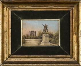 PITTORE DEL XIX SECOLO   EQUESTRIAN MONUMENT ON A