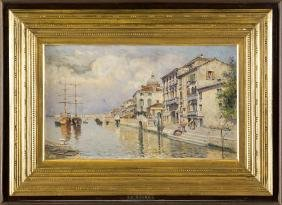 ANTONIO MARÃA REYNA COIN 1859-ROMA 1937 VIEW OF CANALE