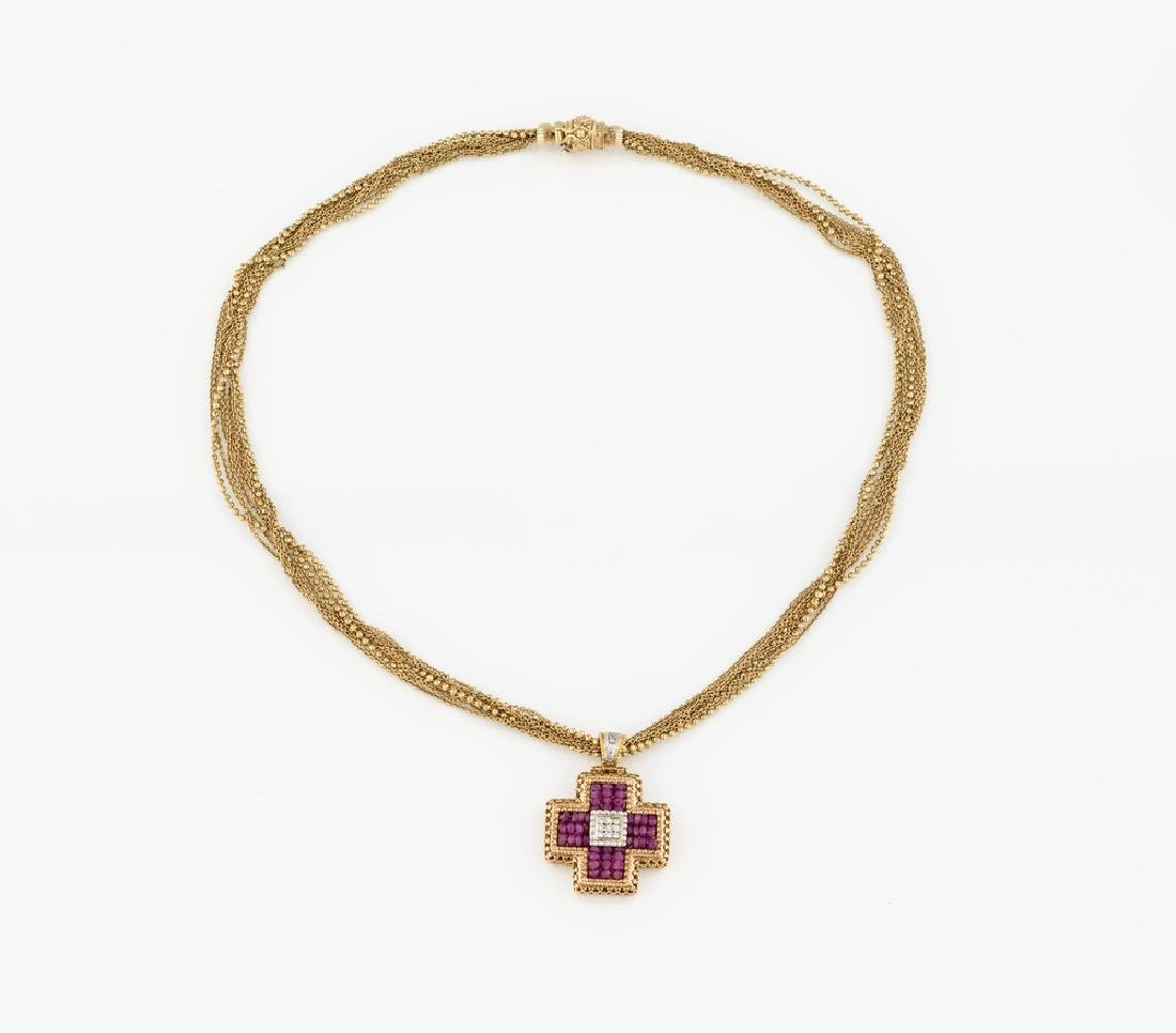 GOLD CHAINS NECKLACE AND GOLD RUBY AND DIAMONDS CROSS  