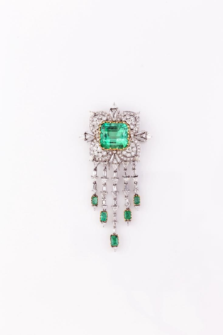 BROOCH WHITE GOLD  AND COLOMBIAN EMERALD |  SPILLA IN