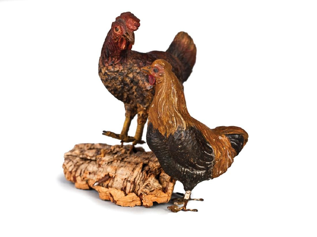 DUE GALLINE IN TERRACOTTA POLICROMA | TWO HENS