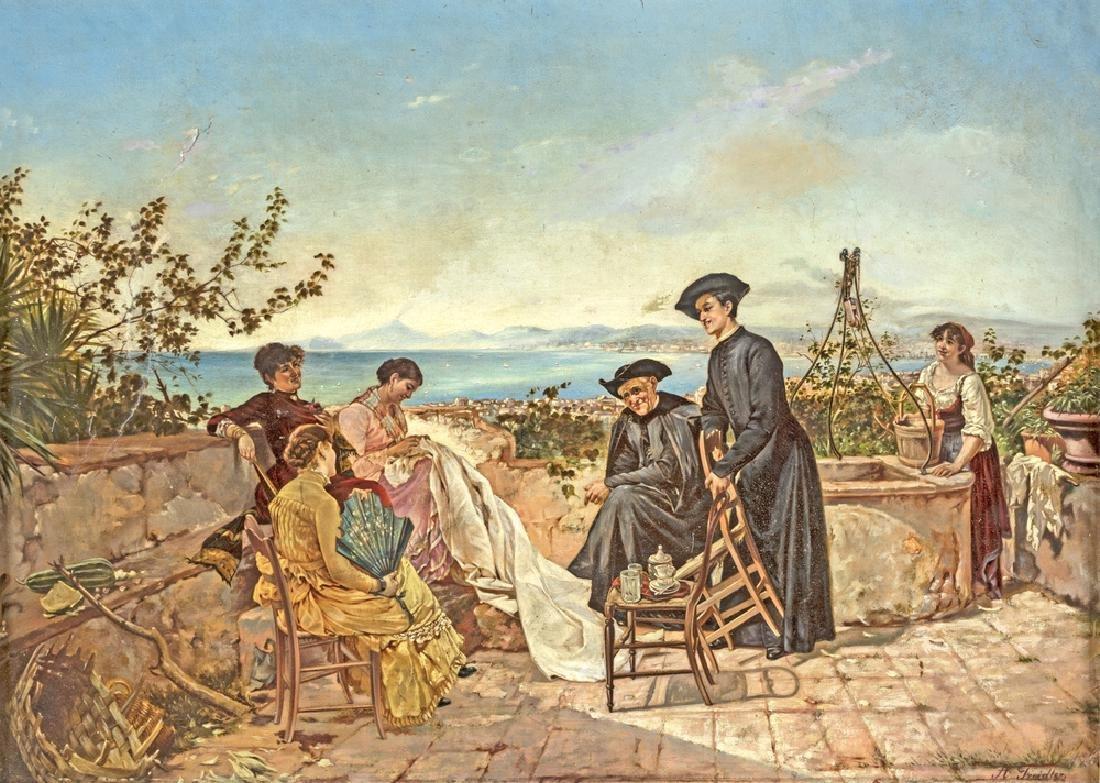 NAPOLITAN SCHOOL OF XIX CENTURY LA VISITA DEL PARROCO