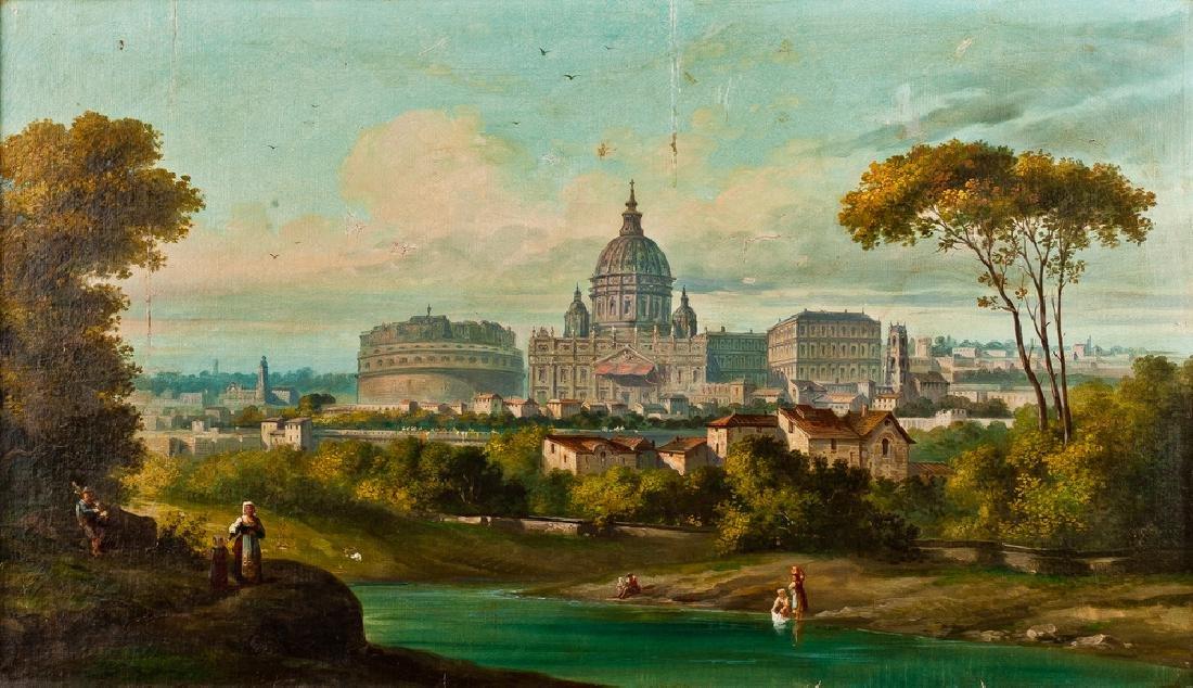 19TH CENTURY PAINTER VEDUTA DI ROMA  VIEW OF ROME