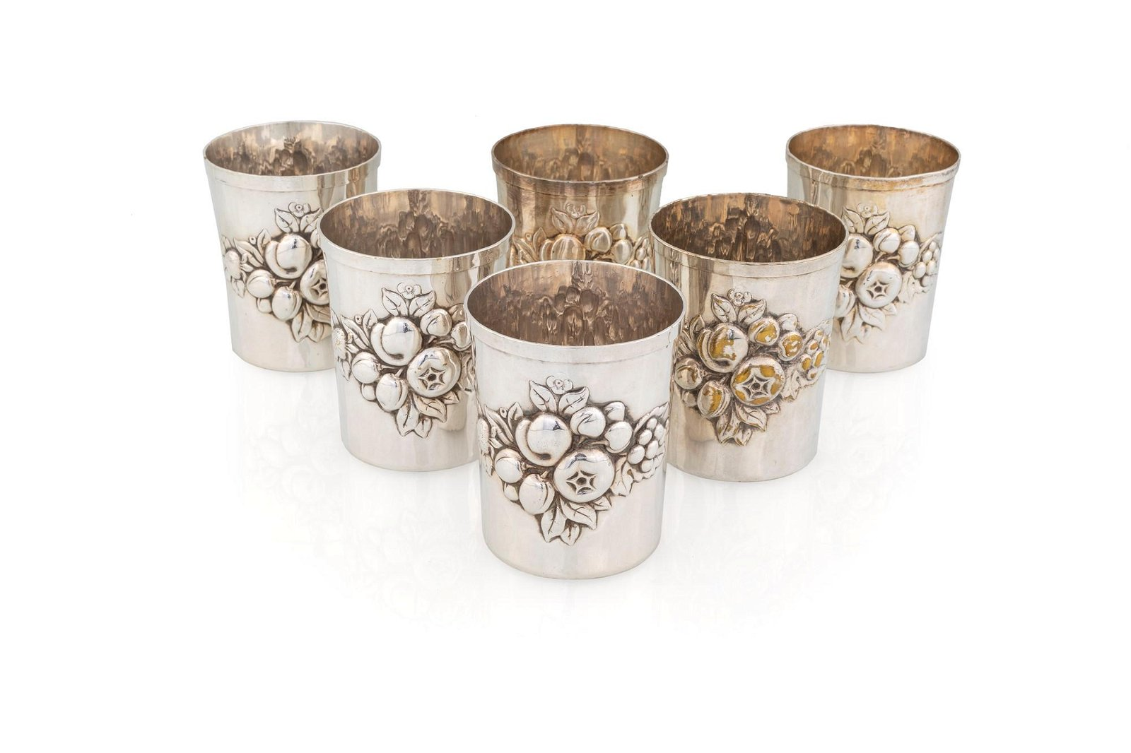 Six silver plated glasses