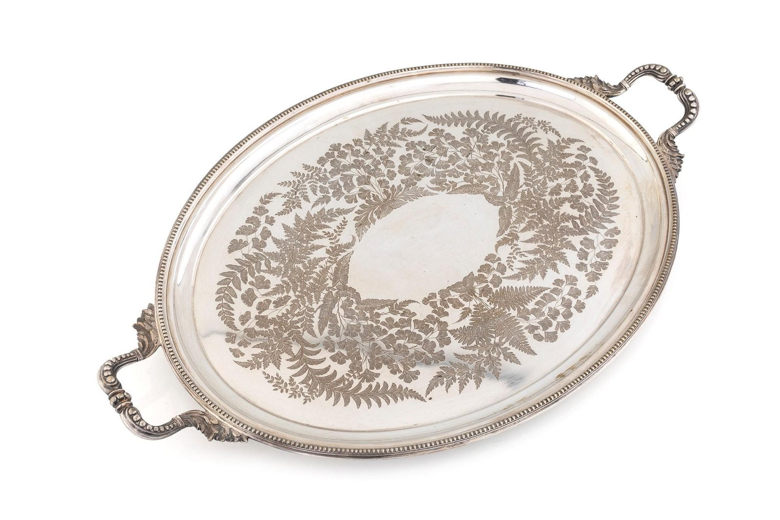 Oval silver plated tray