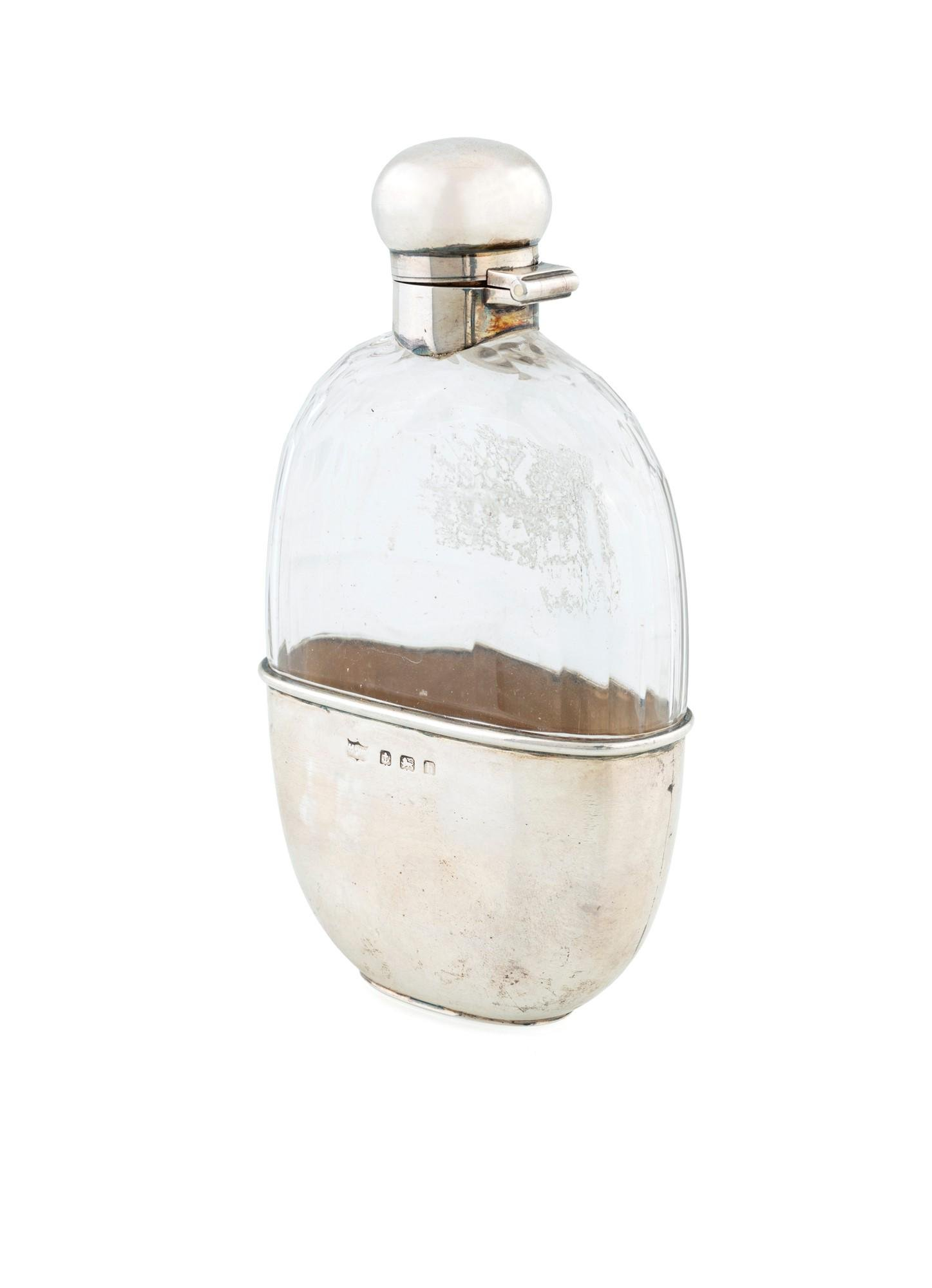 Mappin & Webb silver and crystal flask