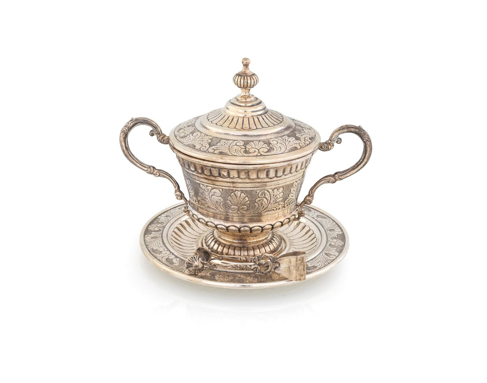 Sugar bowl with lit, plat and tweezers