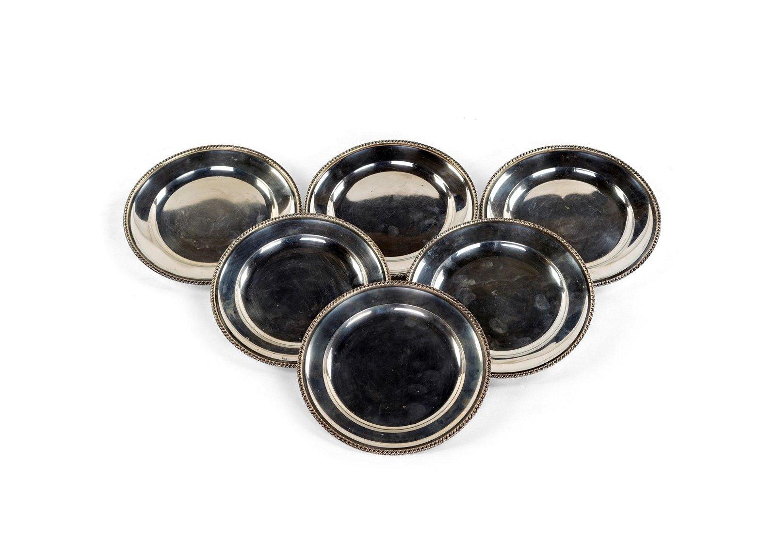 Six silver plates