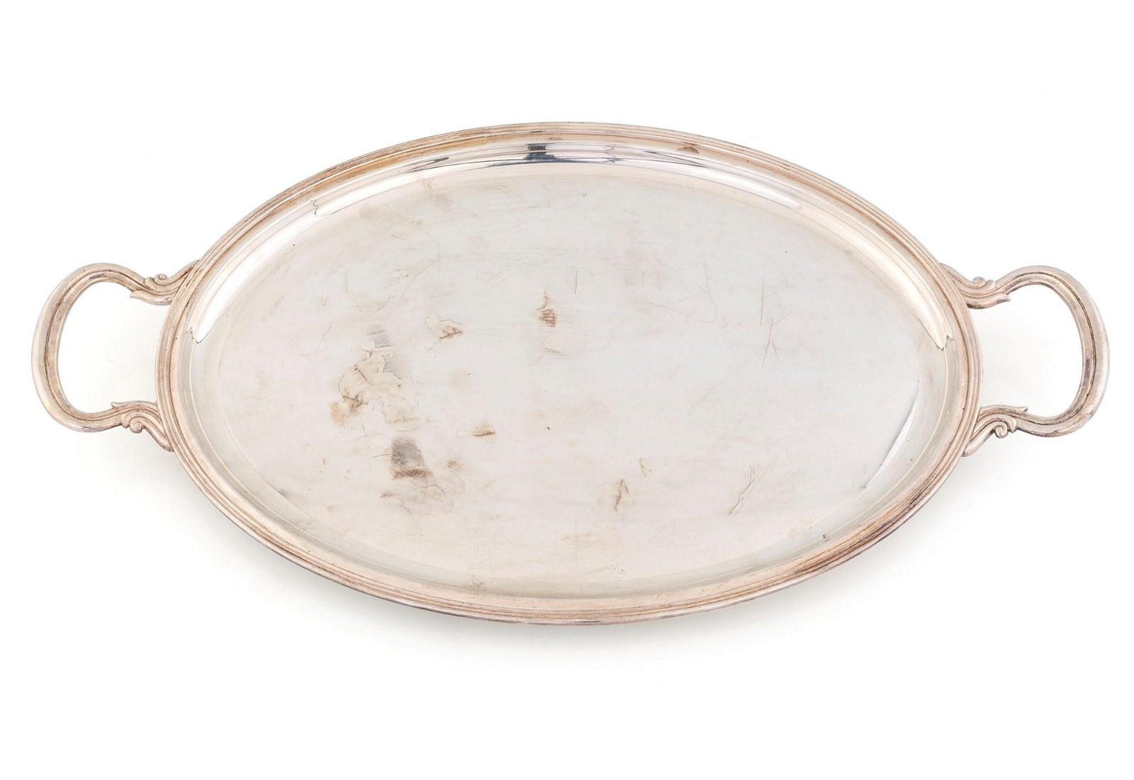 Oval silver tray with handles