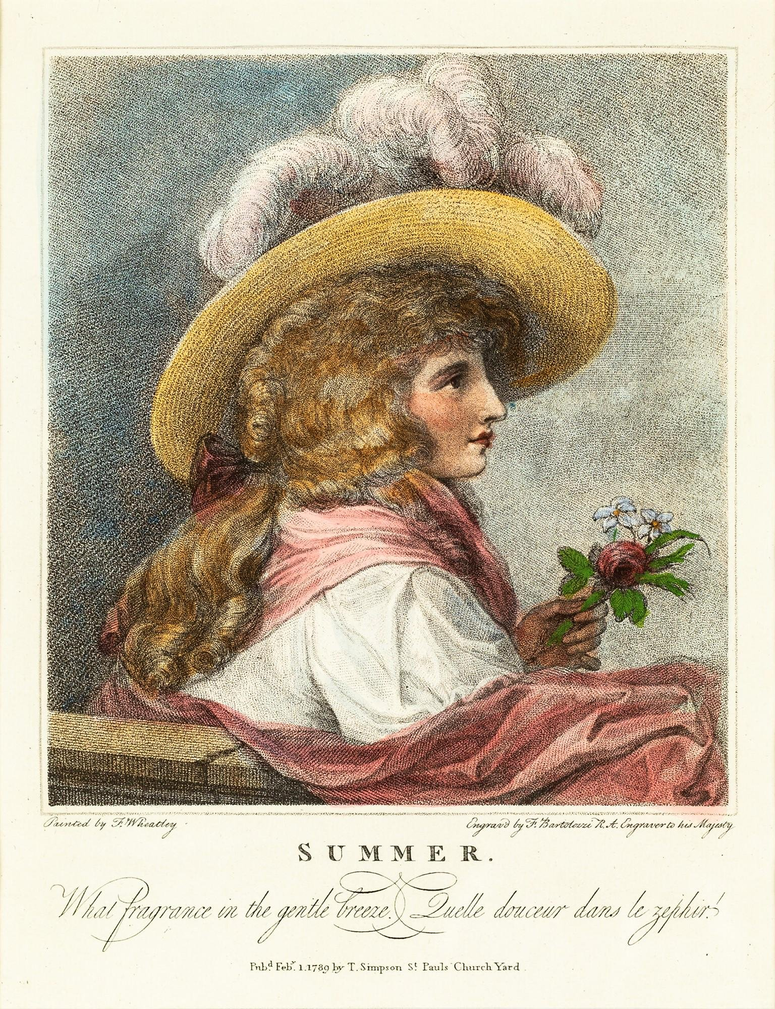 Four colored prints depicting gentlewomen and gallant