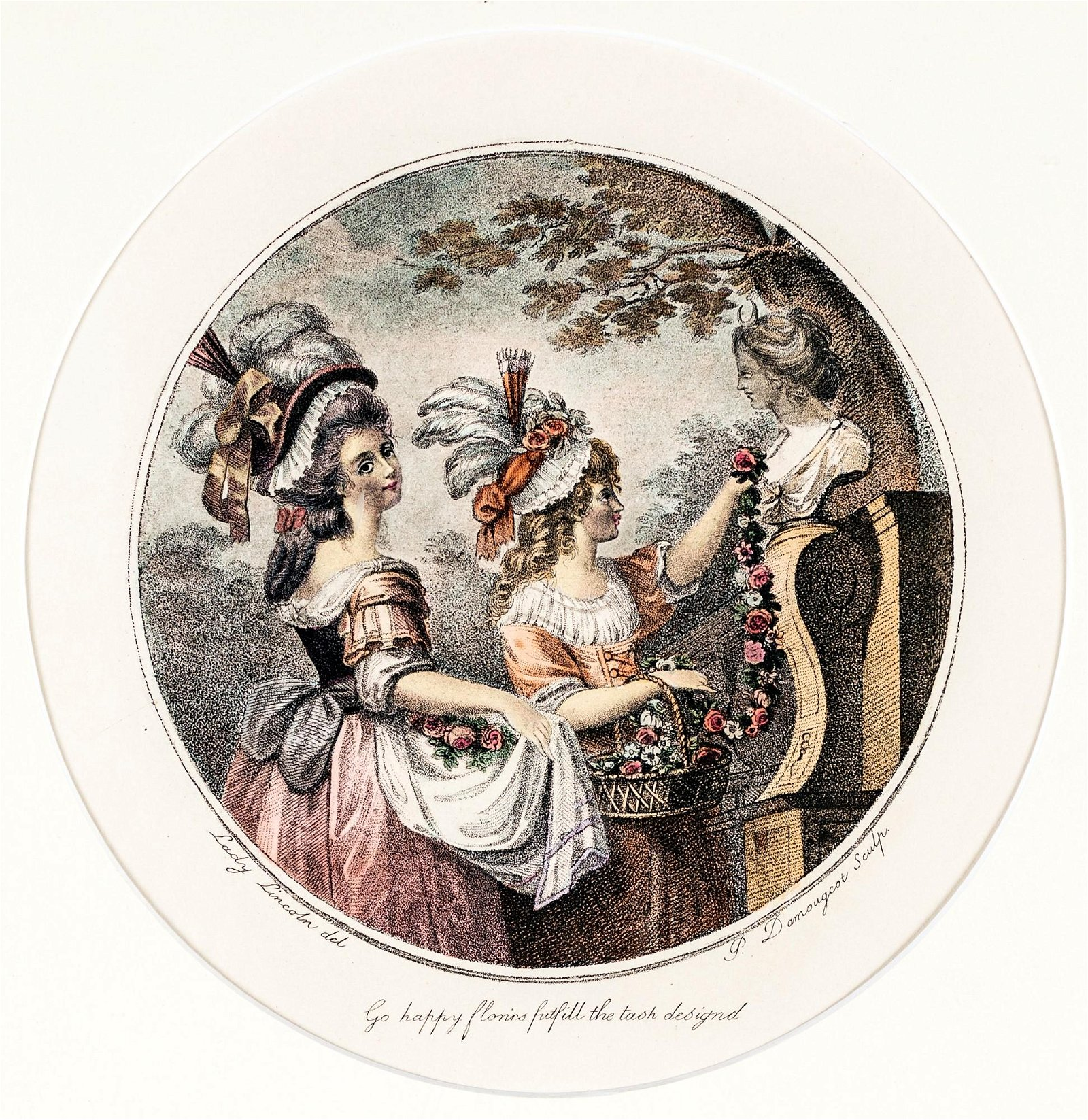 Four colored prints depicting gentlewomen