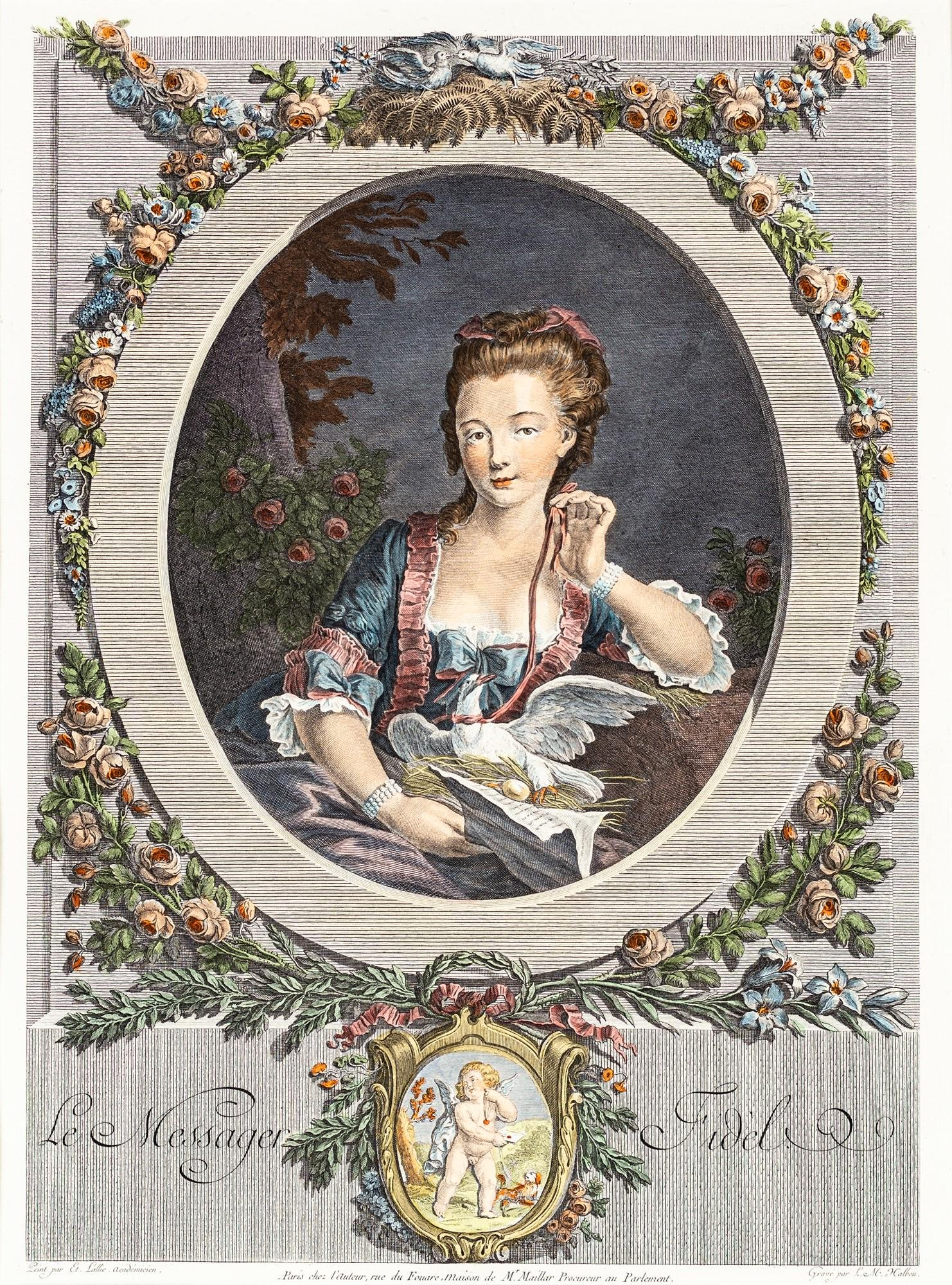 Two colored prints depicting young ladies