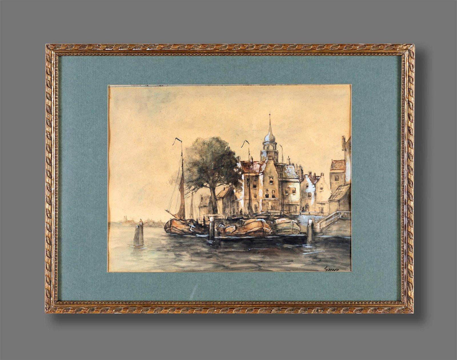 Scuola Inglese del XIX Secolo View of Amsterdam