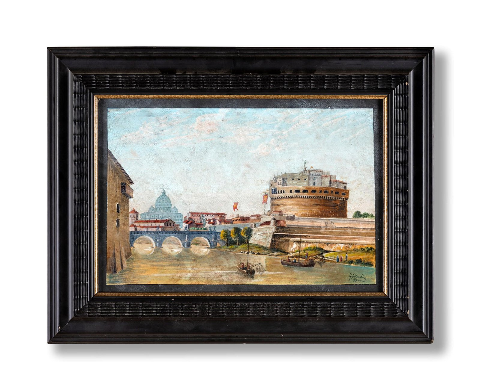 Federico Schianchi (Modena 1858-Roma 1918)  a) View of