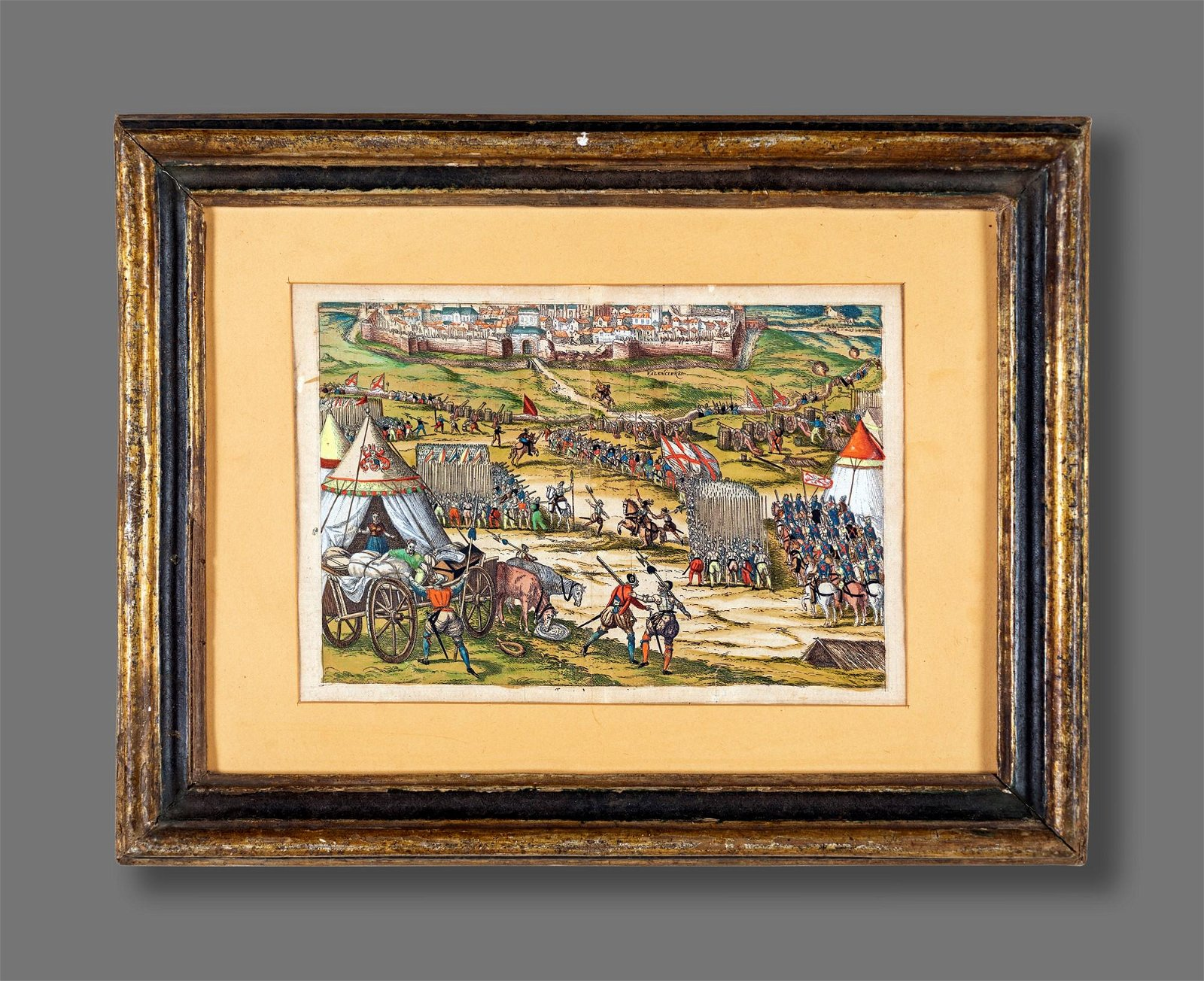 Pair of watercolor prints depicting a soldiers camp and