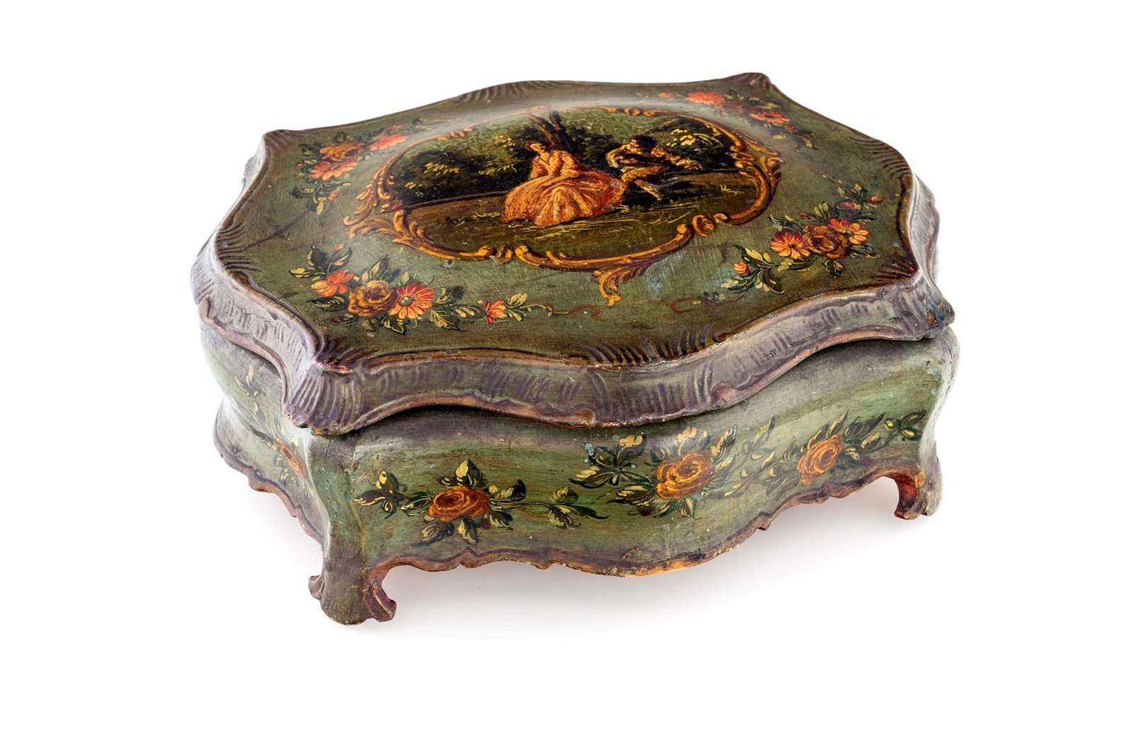 Venetian lacquered wood box from 19th century