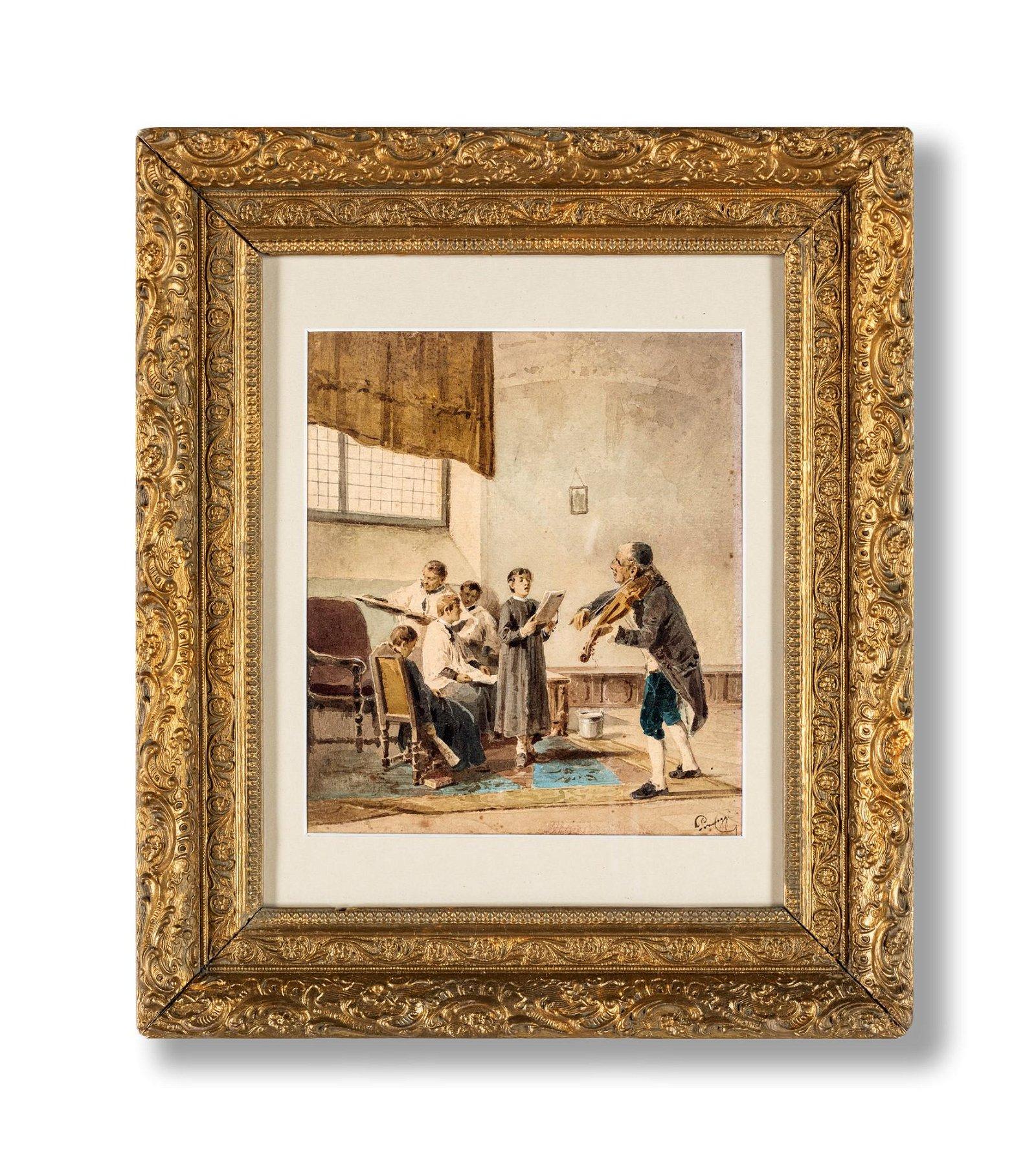 Cesare Provaggi (attivo nel XIX secolo)  Music lesson