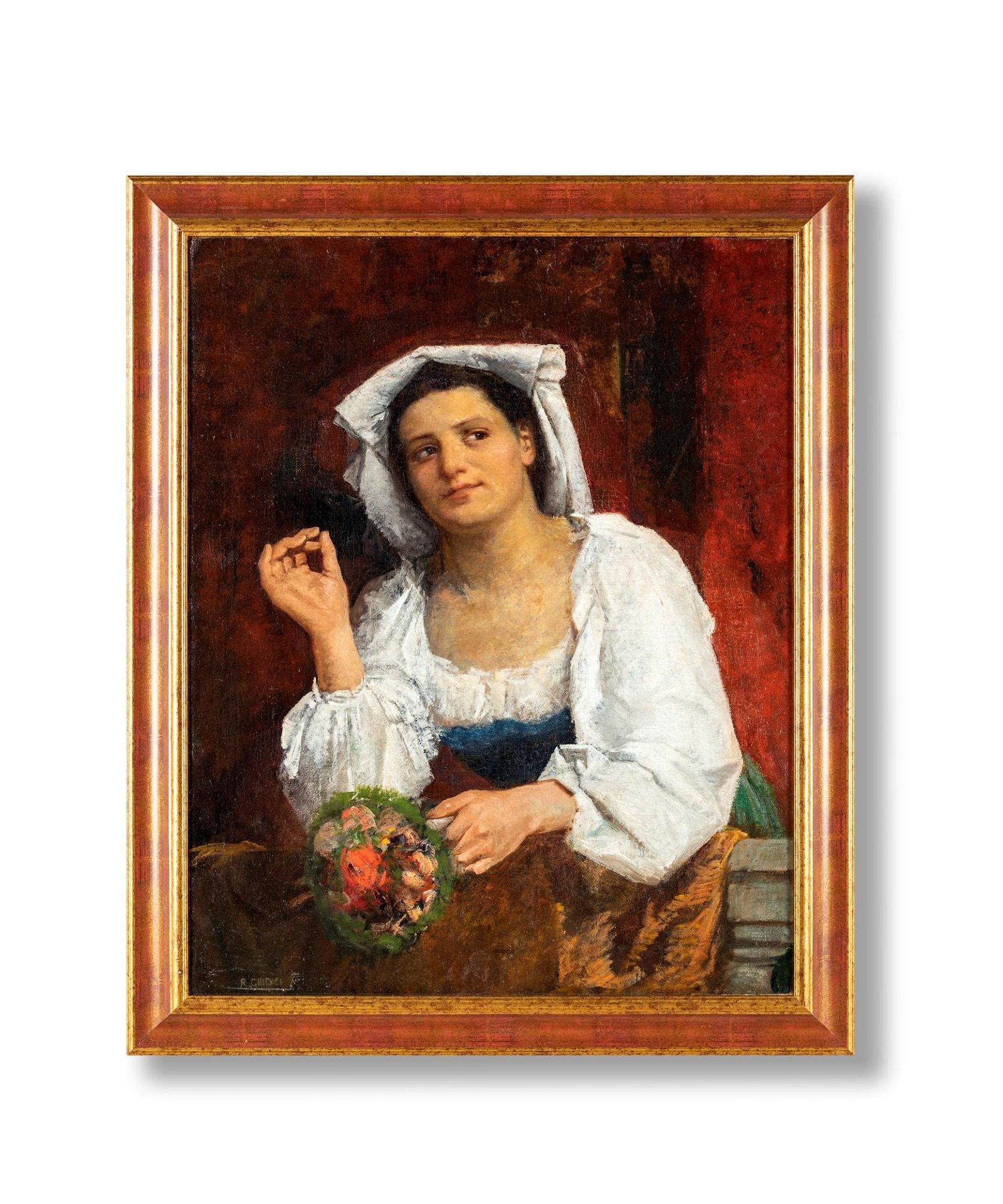 Portrait of a villan with bouquet