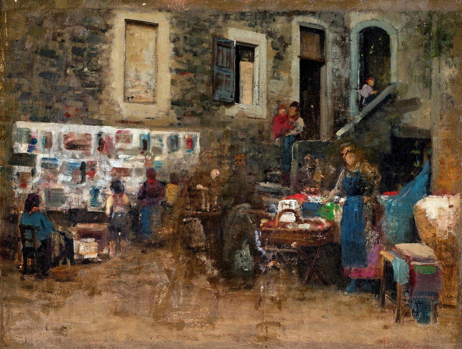 Pittore del XIX/XX secolo   Genre scene in a village