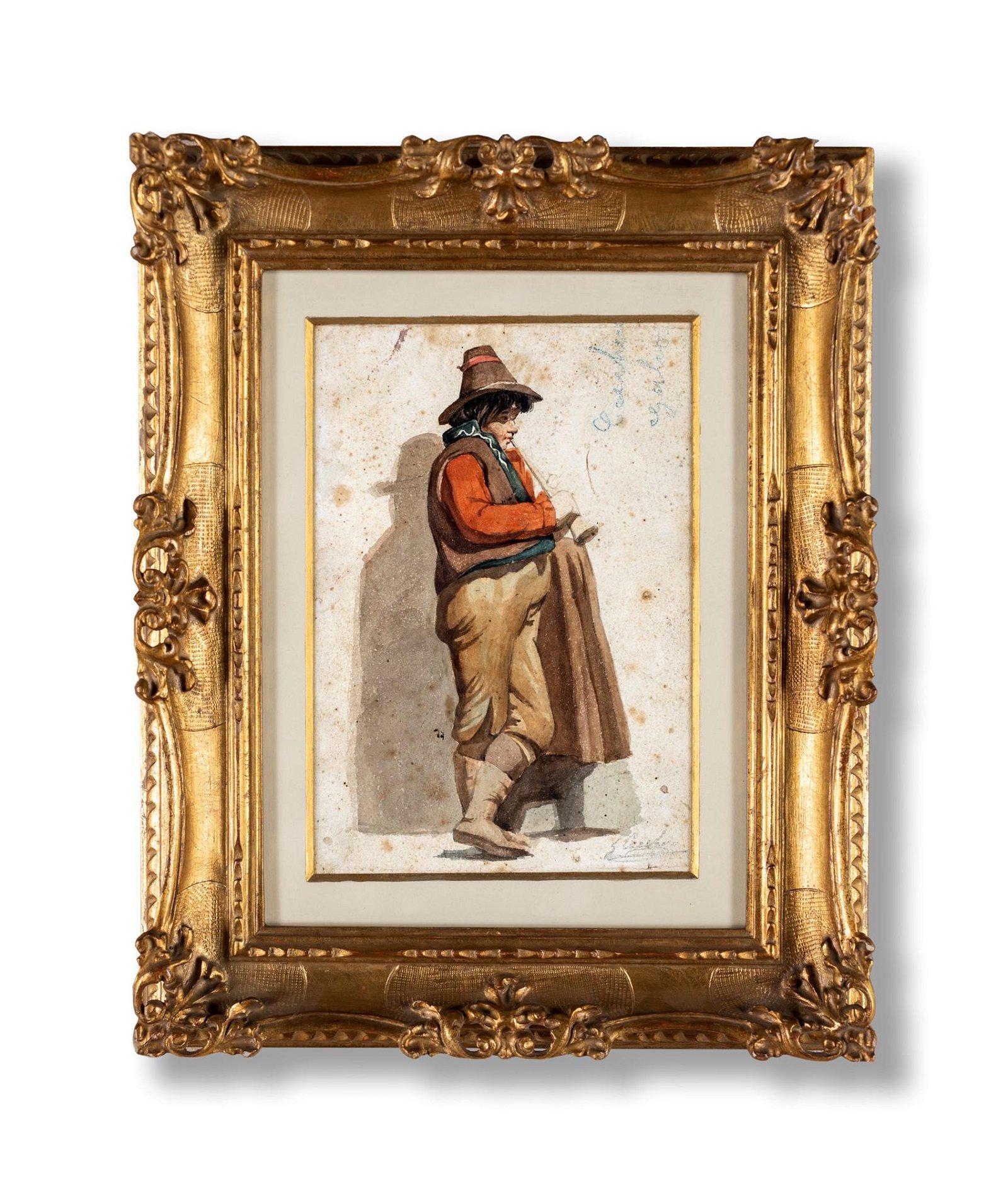 a) Man with villain clothes; b) Woman from Ciociaria