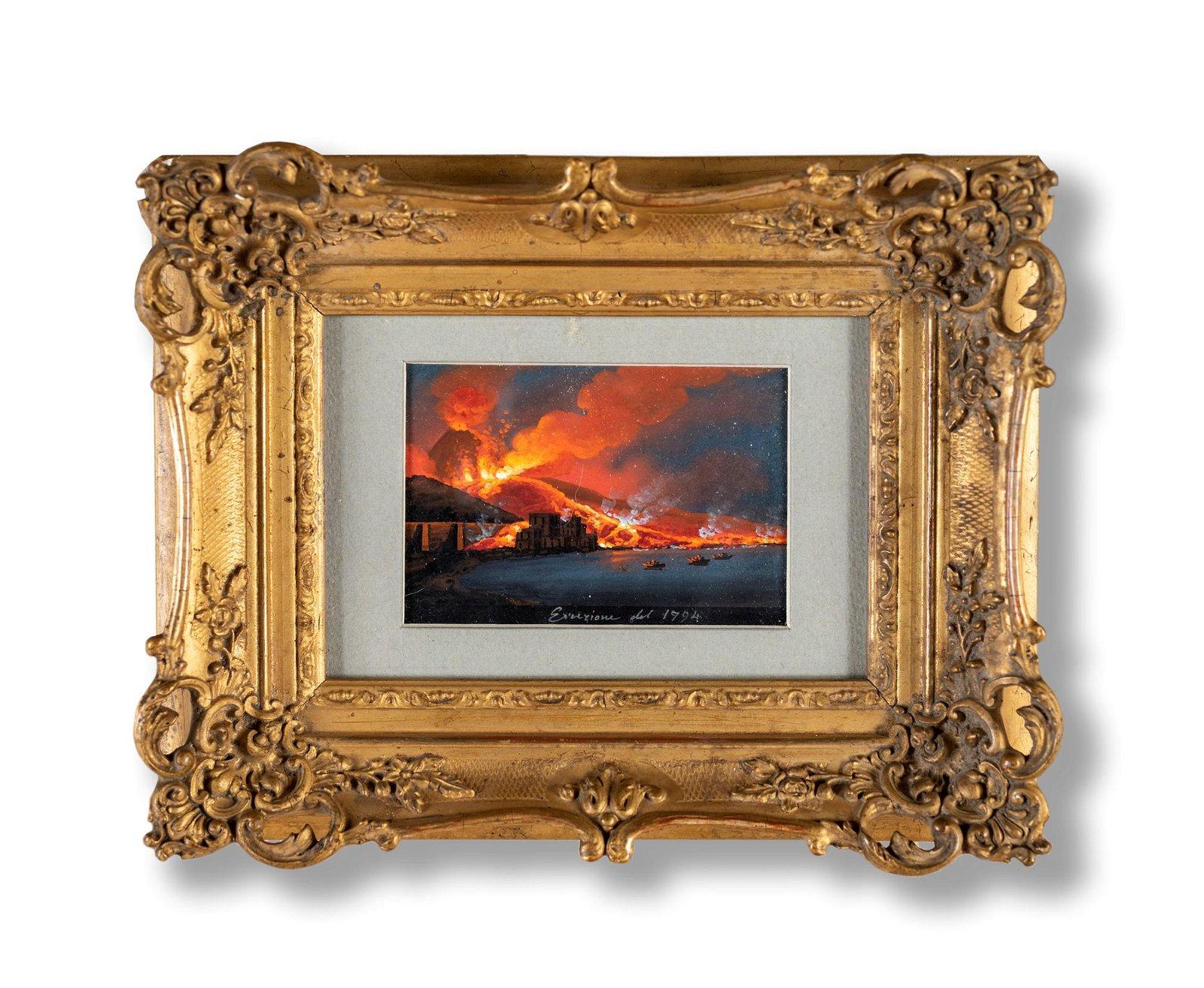 Scuola napoletana del XIX secolo   Vesuvio eruption in