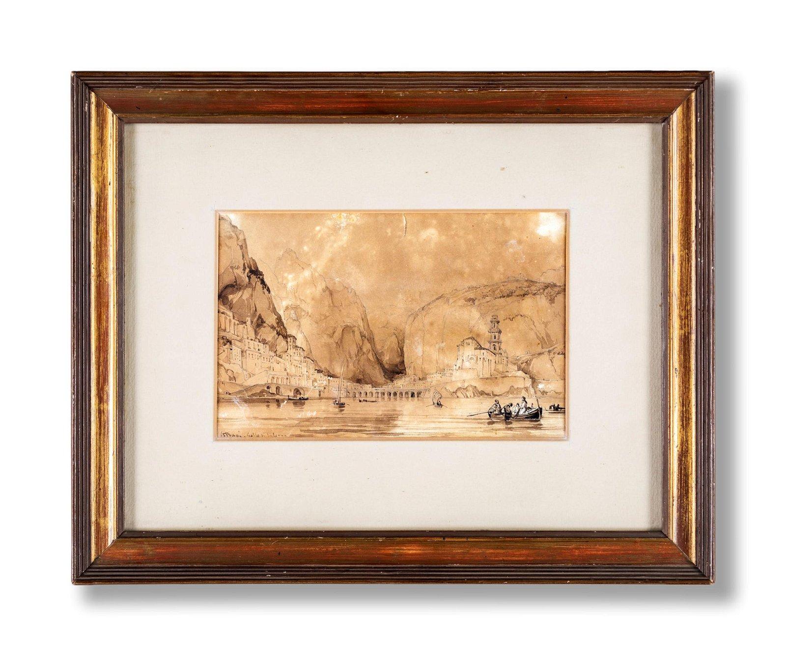Pittore del XIX secolo   View of Atrani and Salerno