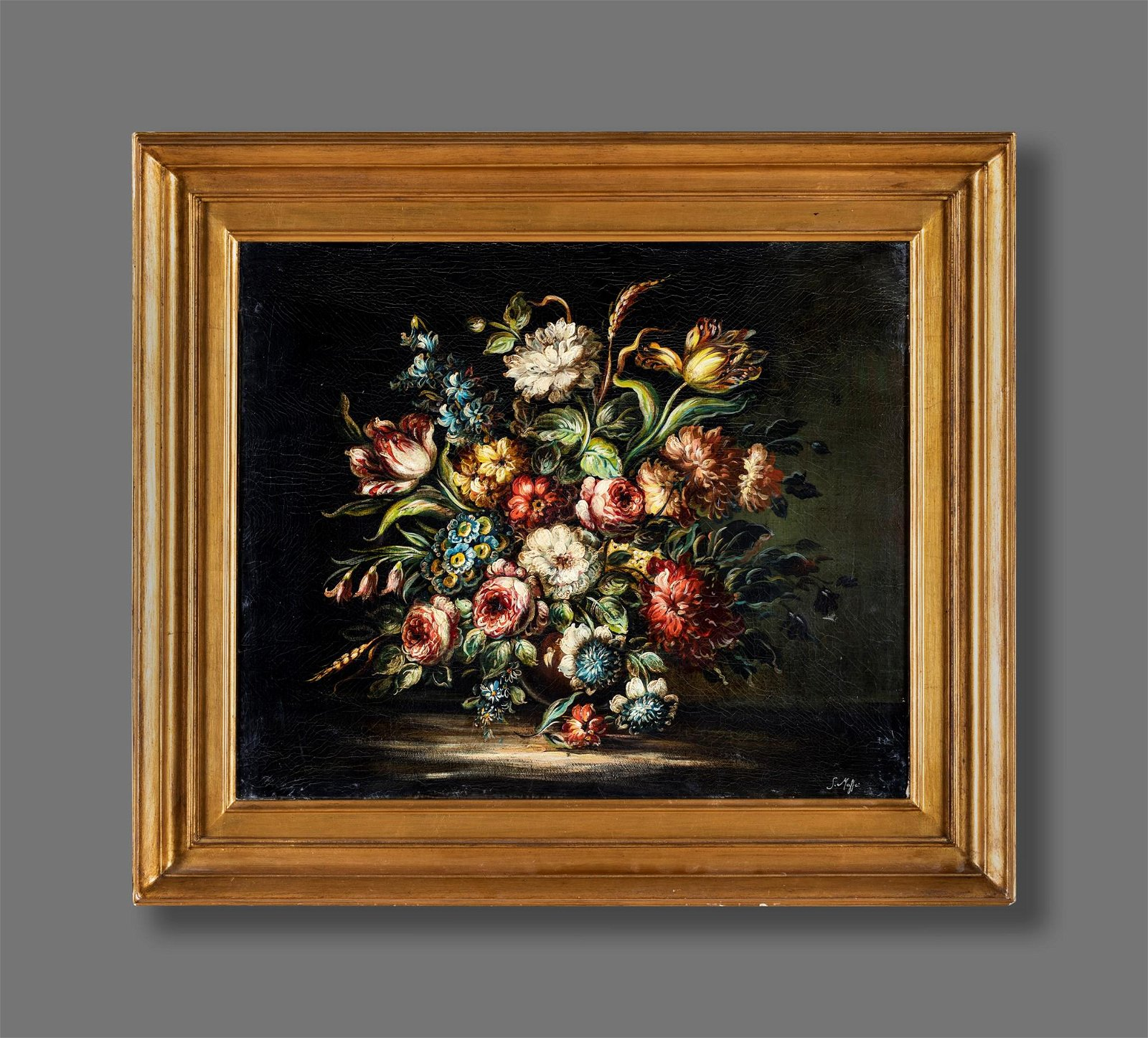 Pittore del  XIX secolo   Still life with flowers