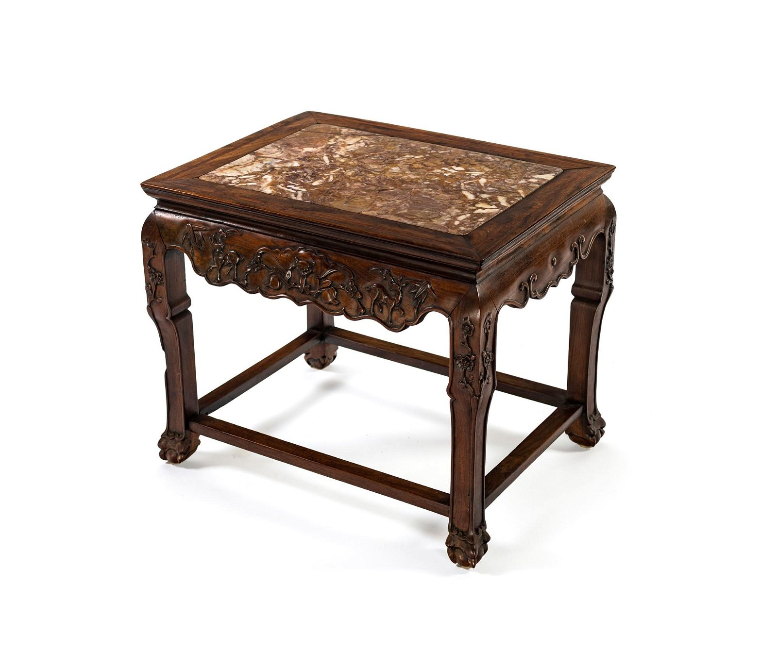 Wooden coffee table with marble top