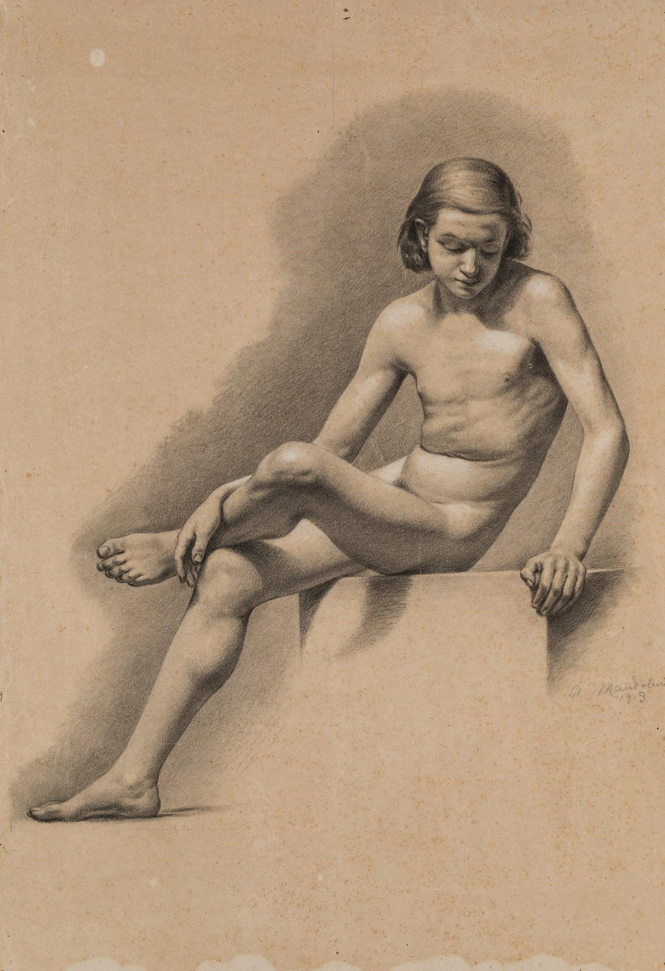 Fourteen drawings with studies on human figure