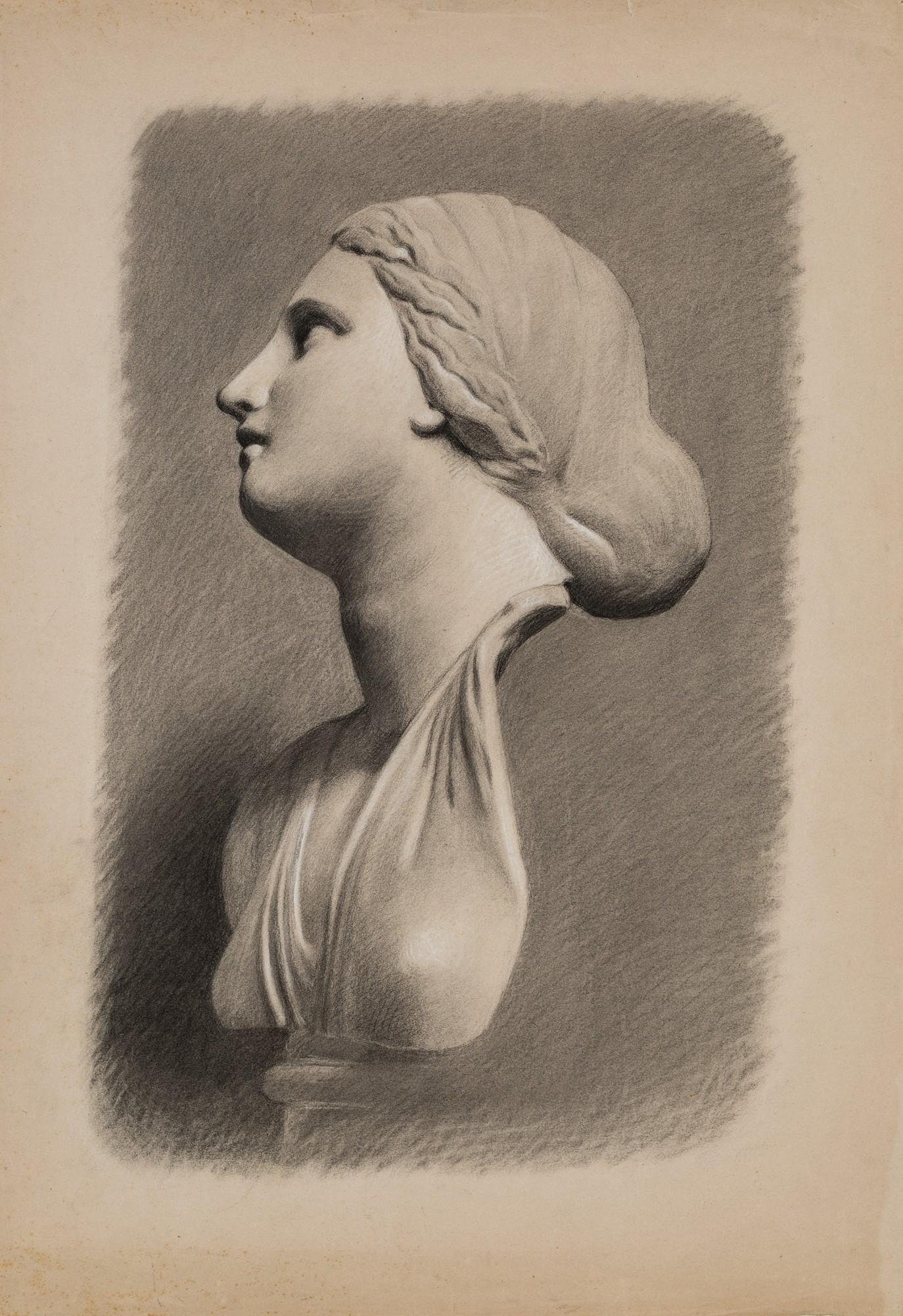 Six drawings depicting marble busts from ancient times
