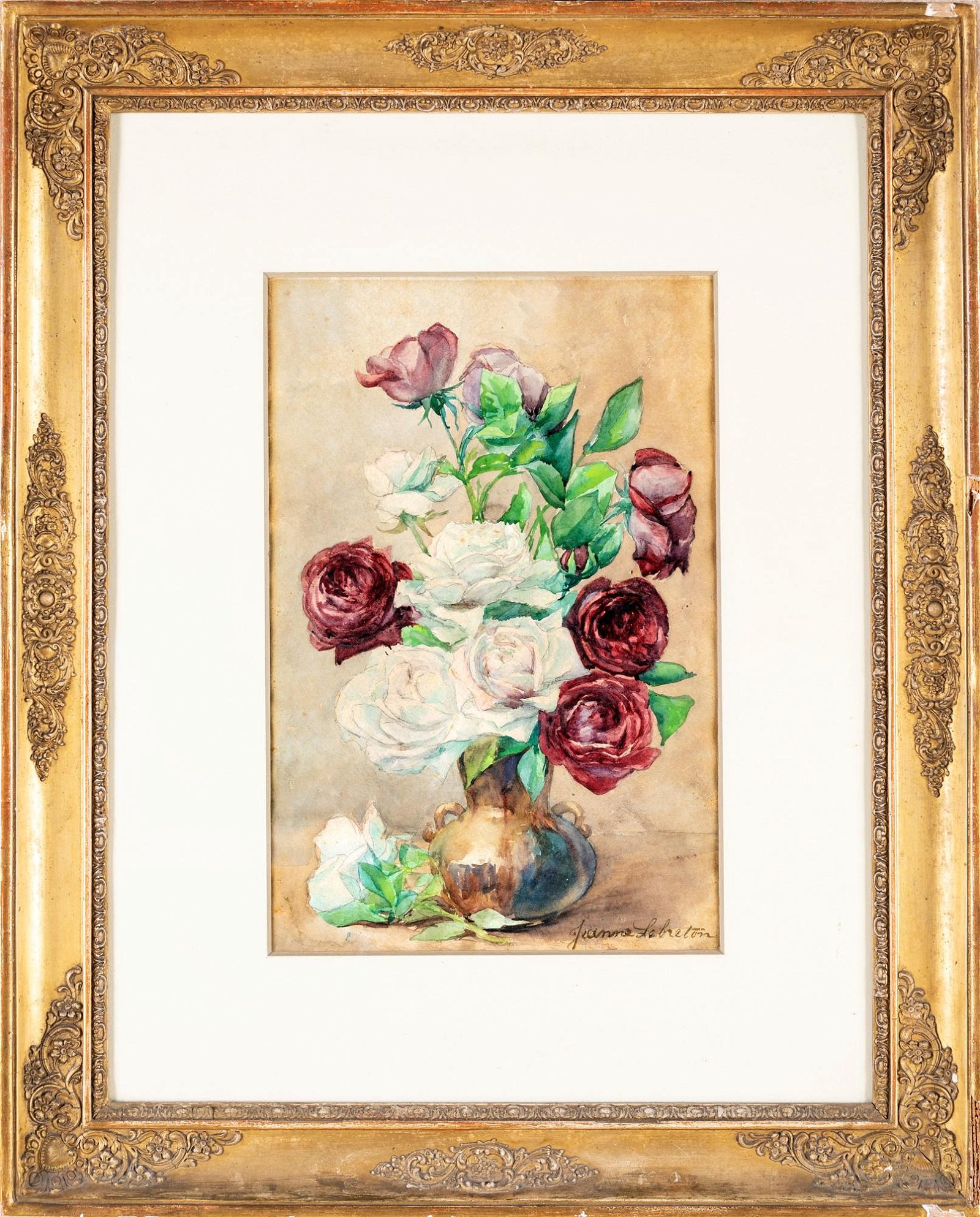 Pittore del  XIX secolo   Vase with white roses and