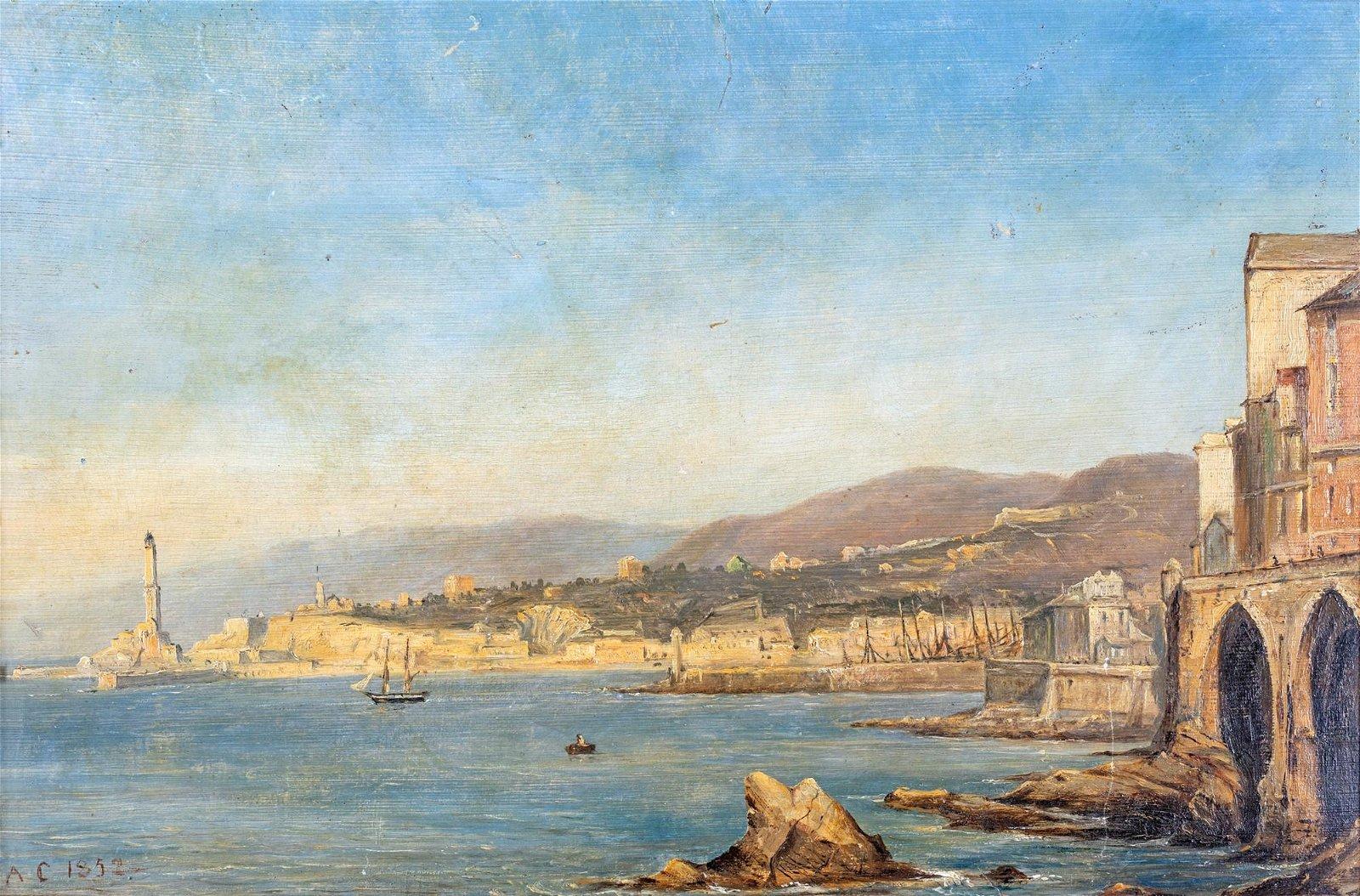 Pittore del  XIX secolo   View of Genoa