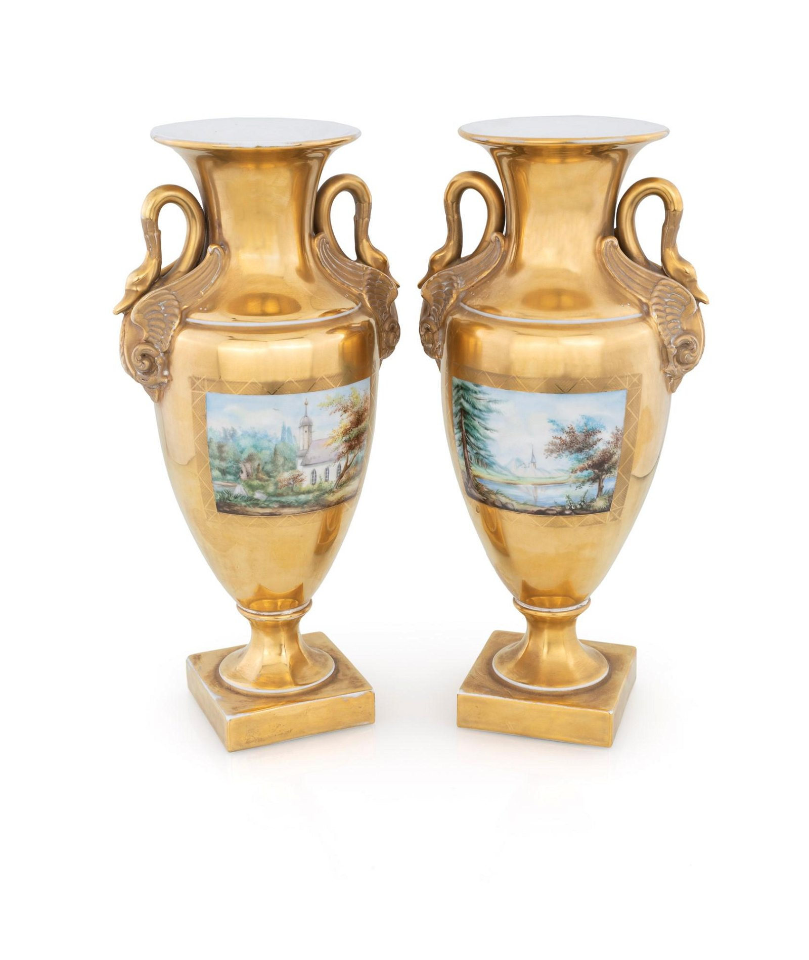 Pair of gilded porcelain vases