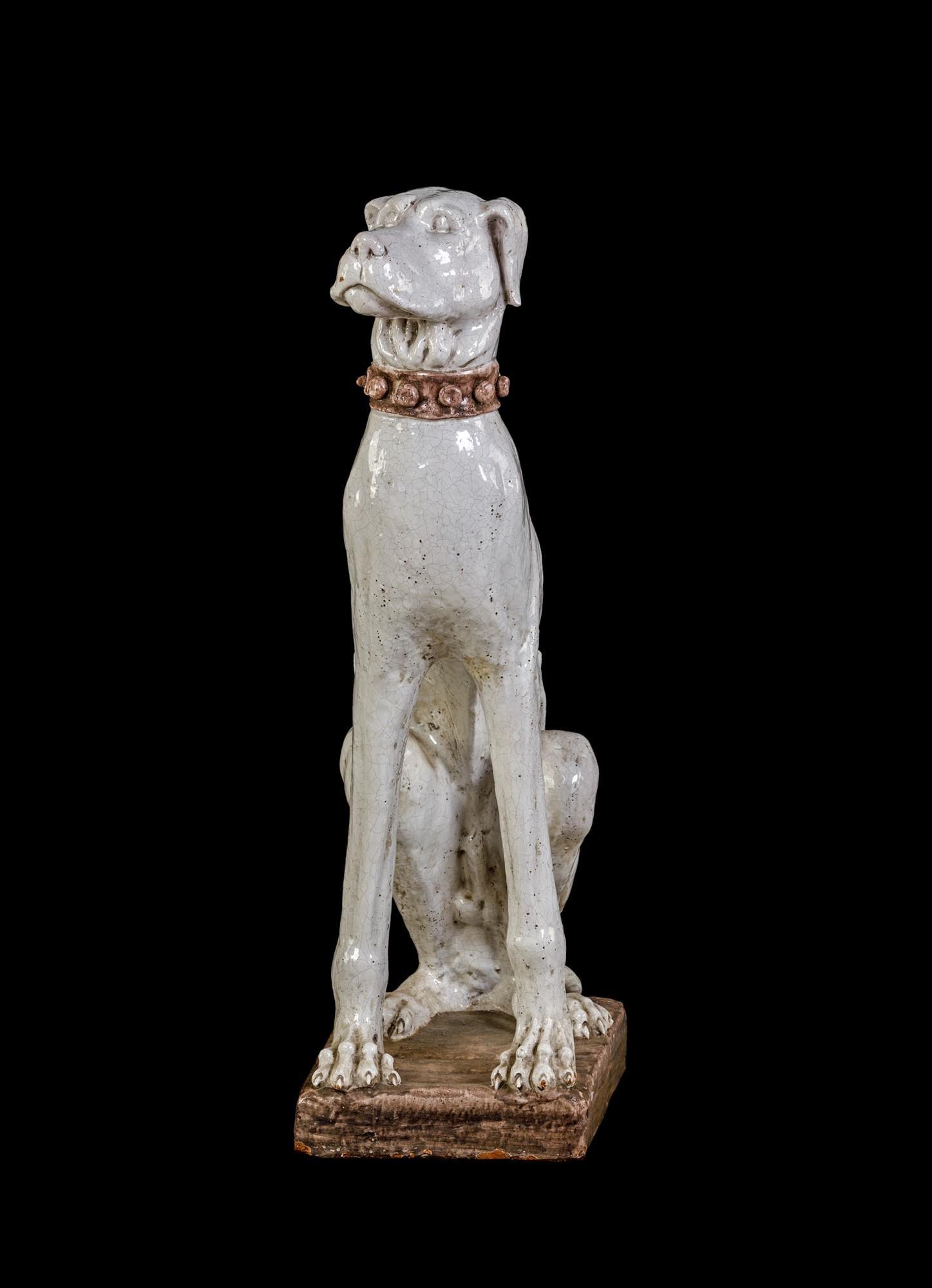 Big glazed terracotta sculpture of a dog