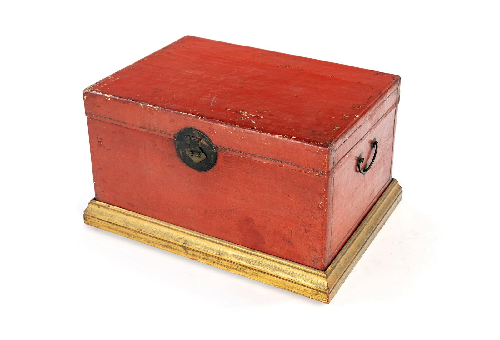 Orange wooden trunk