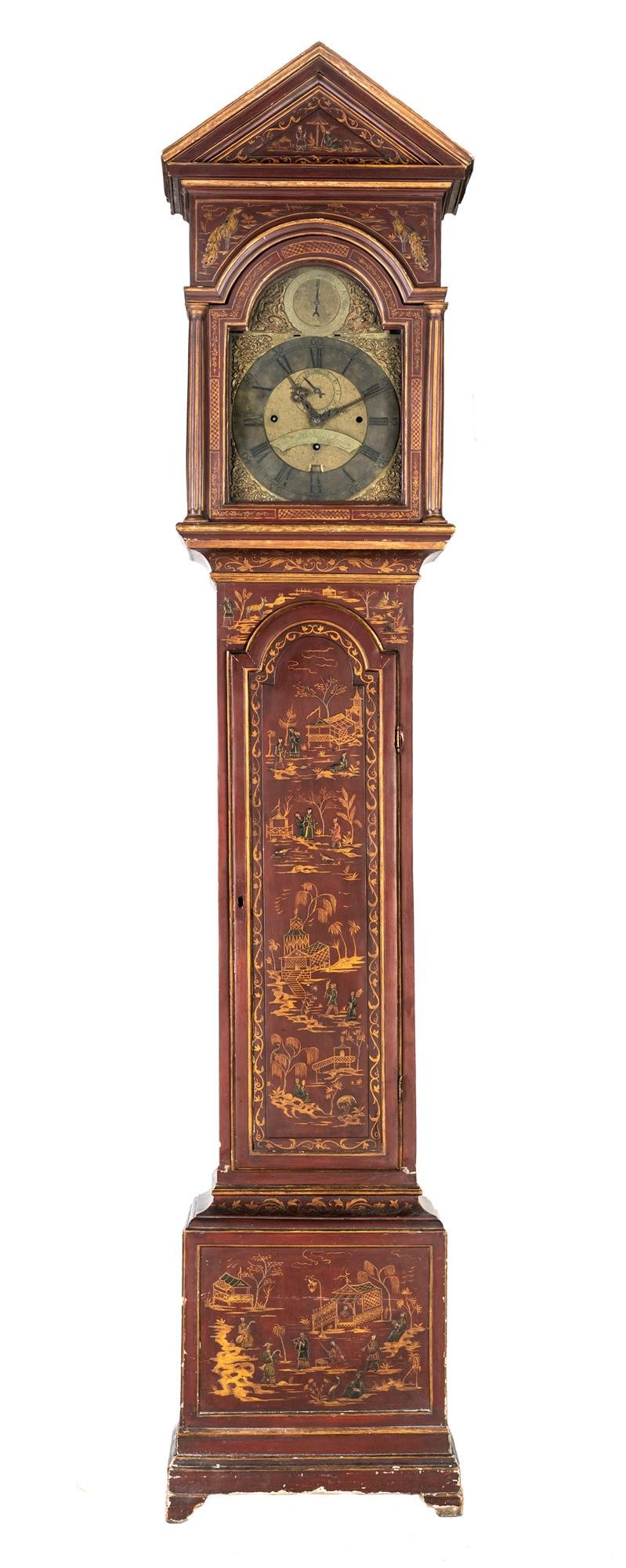 Tower clock in red lacquered wood