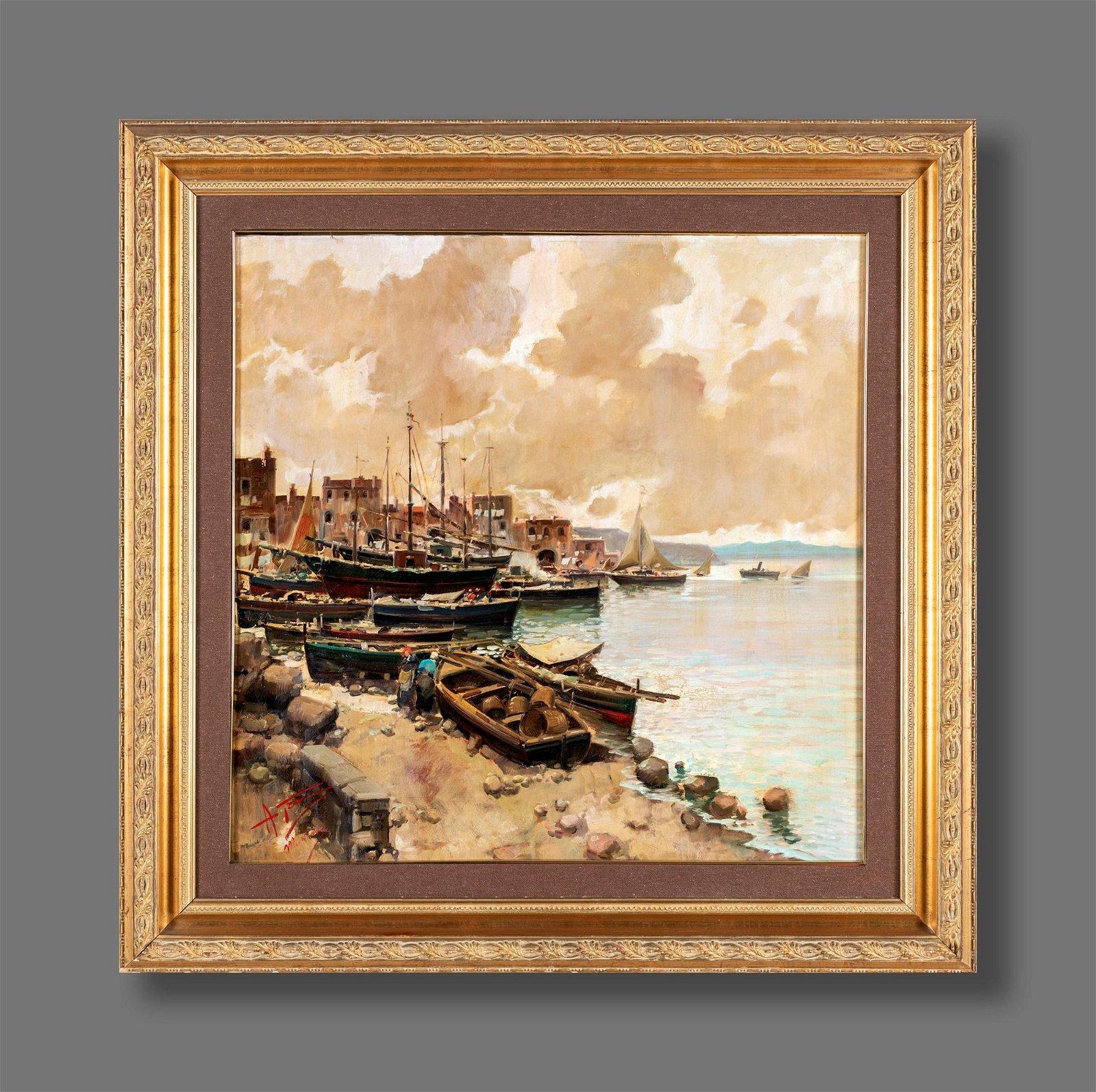 Pittore del  XIX secolo   Marina with boats