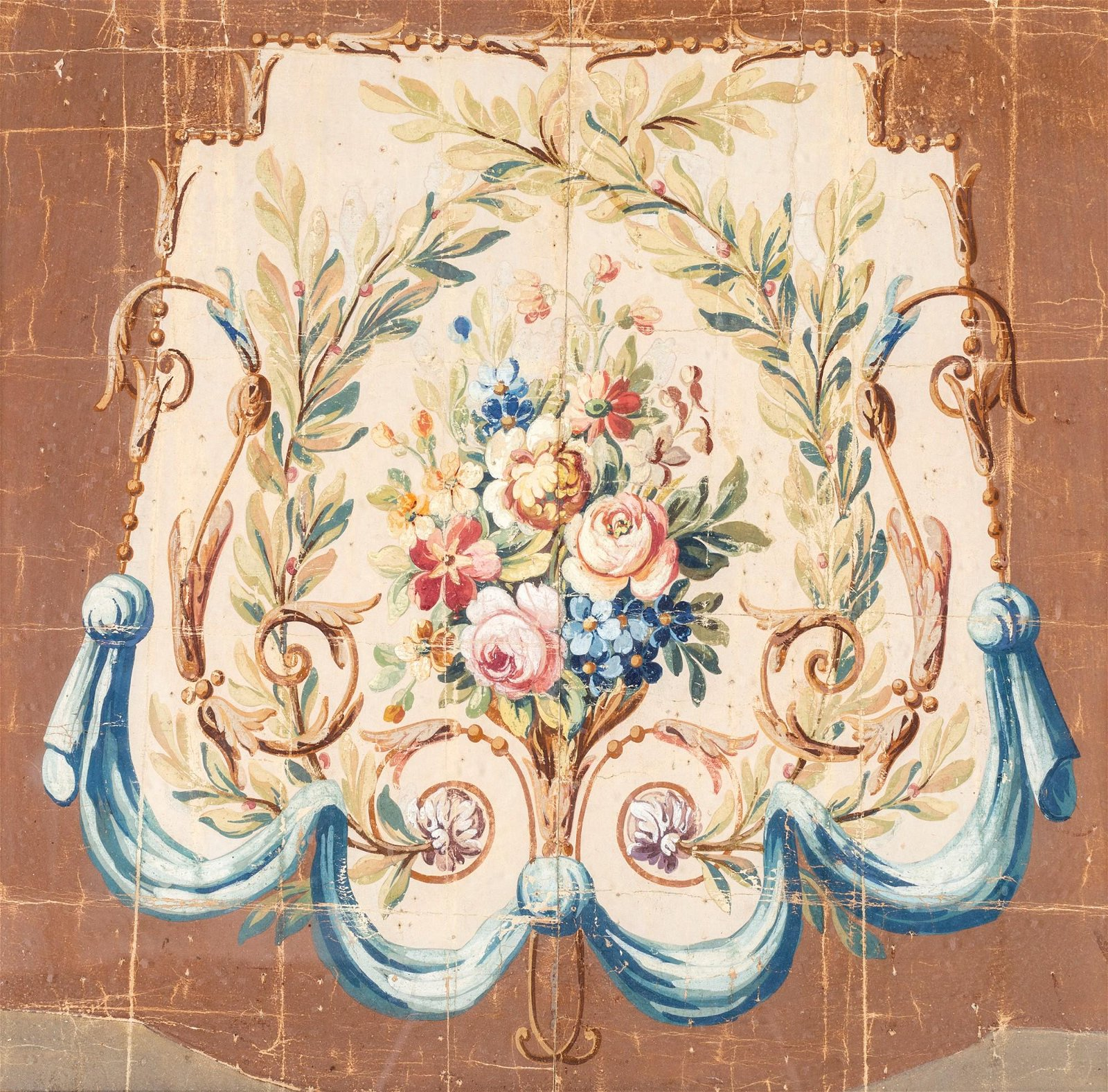 Pittore Neoclassico   Flowers in a cartouche