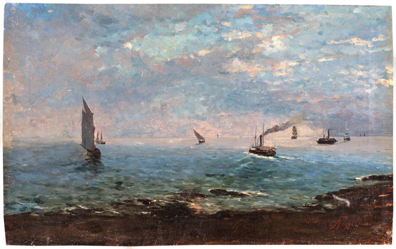 Andrea Figari (Sassari 1858-Genova 1945)  Marina with