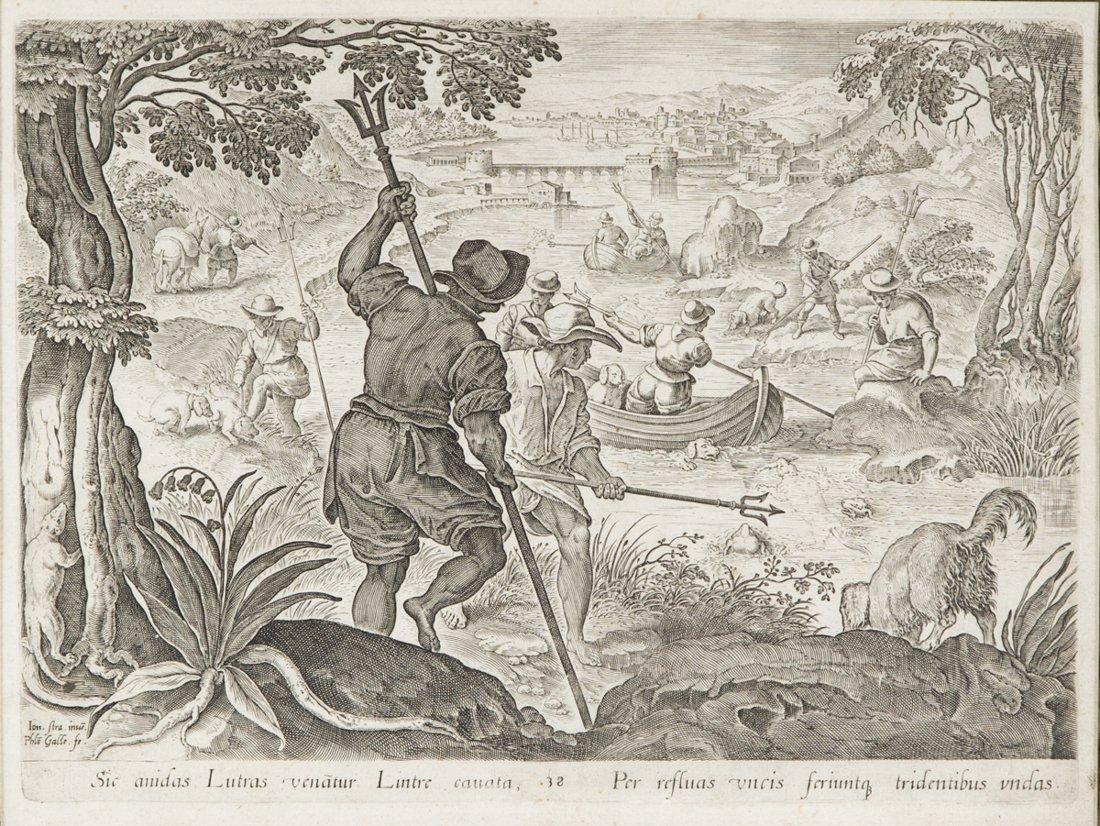 | Antica stampa con allegoria della caccia | Antique