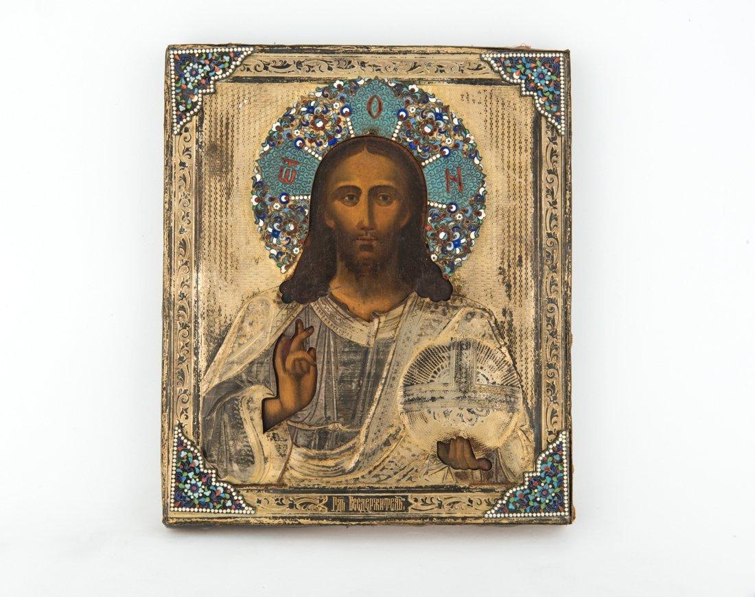 Icona russa raffigurante Cristo Pantocrator, punzone